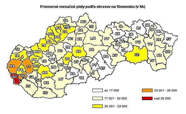 Priemerné mesačné platy podľa okresov Slovenska